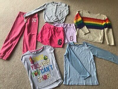 Girls Top Shorts Joggers Bundle From M&S Matalan Next GAP  -  7 Items (age 6-7)