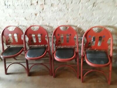 Set of 4  Antique Louis Rastetter Solid Kumfort Wood Folding Chairs - Very Good