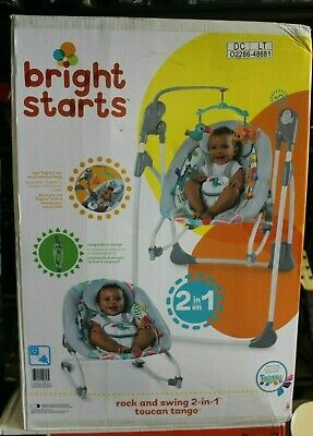 BRIGHT STARTS BABY Infant Rock and Swing Musical Rocker 2 in 1 Toucan Tango