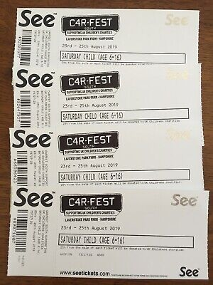 Carfest South tickets Sat 24th Aug19 four child 6-16. Pick up from Kenilworth