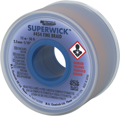 """MG Chemicals 454 (#4) 50 Foot Length of 0.100"""" (2.5mm) Width Braid Solder Wick"""