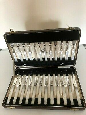 Beautiful Set Of 24 Solid Silver & Mother Of Pearl Fruit Knives & Forks  (1930)