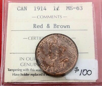 1914 Canada Large One Cent Coin - $100 ICCS MS-63 Red & Brown