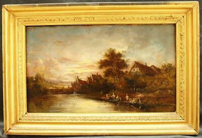 FINE EARLY 19th Century BOATING ON THE RIVER AT SUNSET  Antique Oil Painting