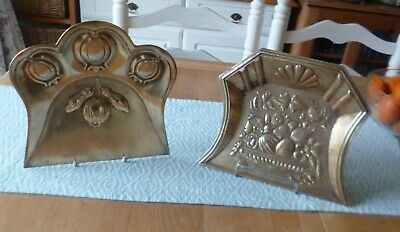 2 Antique Trays-Victorian Edwardian-Art Nouveau Neo-Classical-Wall Hanging