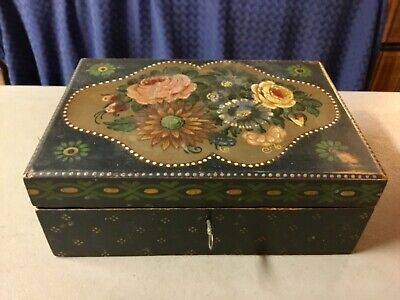 Hand Crafted Hand Painted Early 20th Century Folk Art Wooden Lock Box W/Keys!