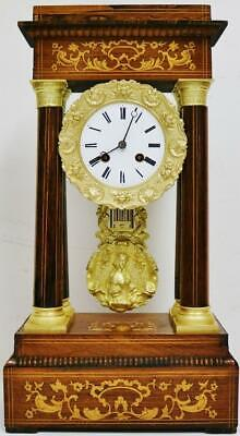 Rare Antique French 8 Day Rosewood & Marquetry Inlaid Portico Mantel Clock