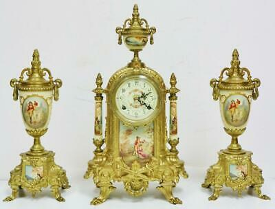 Vintage Franz Hermle 8 Day Bronze & Cream Porcelain Panelled Mantel Clock Set