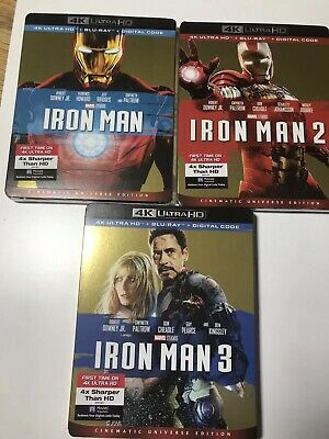 Iron Man Trilogy (4K UHD + Blu-ray + Digital) W/Slipcover 1 2 3