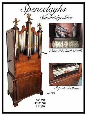 Rare Georgian Chamber Barrel Organ Superb Quality Working With 5 Rolls
