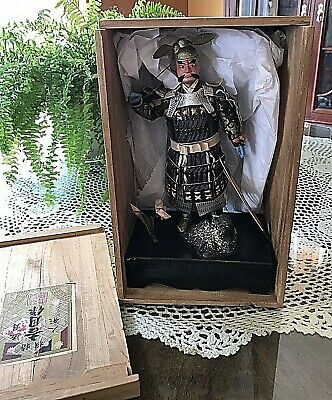 Antique/ Vintage Japanese Samurai In Wooden Case From Doll Museum.