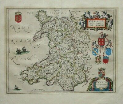 Antique map of Wales by Joan Blaeu 1645