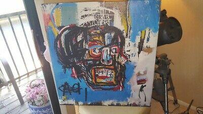 """Jean-Michel Basquiat 30""""x28"""" Untitled 1982 Oil Painting On Canvas On Wood Frame"""