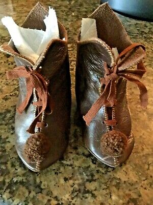 Soft Leather. Brown Doll Boots/Shoes for Antique Doll
