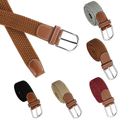 Mens Fashion Waistband Belts Woven Stretch Braided Elastic Leather Buckle Belt