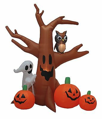 8 Foot Tall Halloween Lighted Inflatable Ghost Tree Owl Pumpkins Yard Decoration