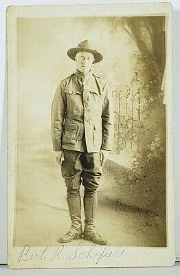 RPPC World War Era US Soldier Bert Schofield of Wilson Wyoming WWI Postcard J12