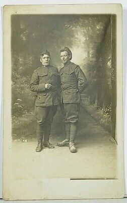 RPPC World War 1 Era US Soldiers in Studio Portrait WWI Postcard J12