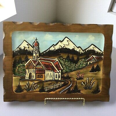 "Vtg Hand Carved Wood 3D Wall Art Village Church Mountains Chaple MCM 11"" x 16"""