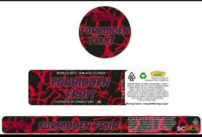 10x Synergy Forbidden fruit 60ml Cali Tin JAR labels (name the strain you want)