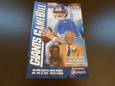 NY Giants vs Denver Broncos 2013 Gamebill Program Bill Parcells Manning