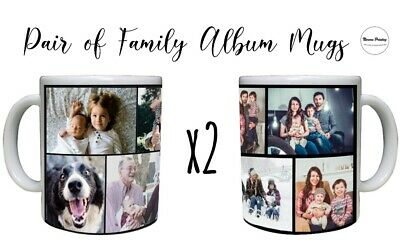 2 Persoanlised Coffee Mugs Collage Cup Birthday Christmas Mother Father Gift