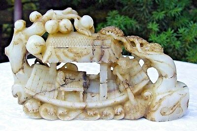Natural Translucent Jadeite Carving of Ferryman