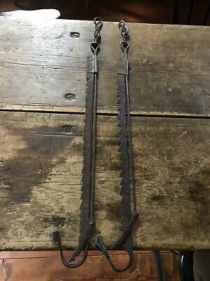 RARE PAIR Early Antique Iron Trammel Loom Hanging Candle Holders Lights AAFA