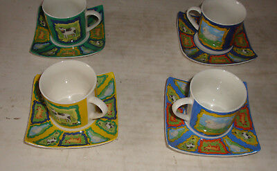 Cups And Saucers- Set Of 4- Seasons Collection- Perfect Condition