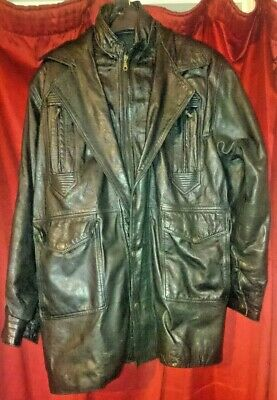 Black Real Leather Men's Great Seal Of The State Of Oklahoma 1907 Jacket Coat