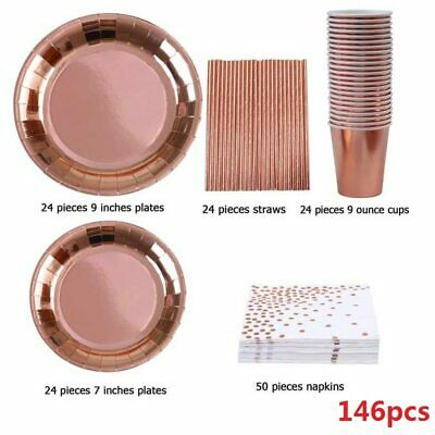 146pc Disposable Party Tableware Foil Paper Plates Napkins Cup Rose Gold Cutlery