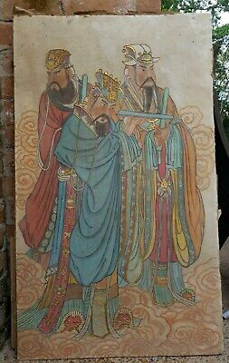 Antique Ming Dynasty Chinese Fresco Temple Wall Painting Immortals Gilt Scroll