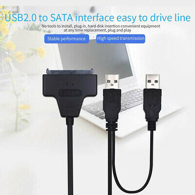 7+15 Pin to USB 2.0 Adapter Cable Hard Drive For UASP 2.5in SATA SSD HDD Convert