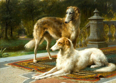 Two Borzoi hound Oil painting Giclee Art Printed on canvas 12X16 inch L1803