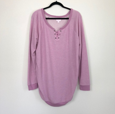 NEW Isabel Maternity Womens Sz XL Pink Lace Up Sweater
