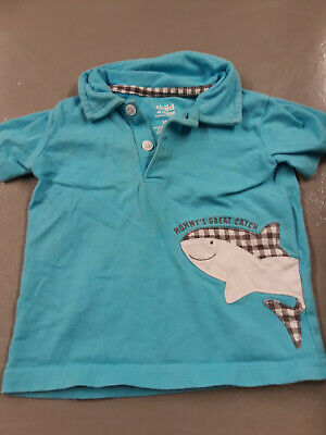 Child of Mine by Carter's Mommy's Great Catch turquoise polo shirt sz 18 mos