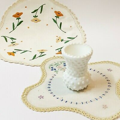 Lot x 3- 2 x Vintage Hand Embroidered Doilies 1x Hobnail Milk Glass Thistle Vase