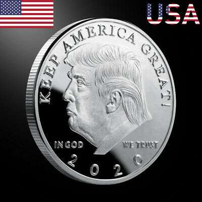Donald J Trump 2020 Keep America Great Commander Silver Challenge Coin US UP