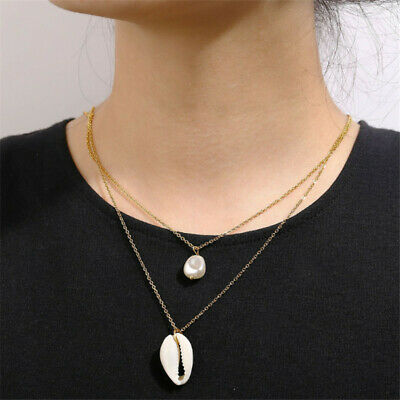 2019 Fashion Statement Boho Shell Pearl Women Lady Choker Chain Pendant Necklace
