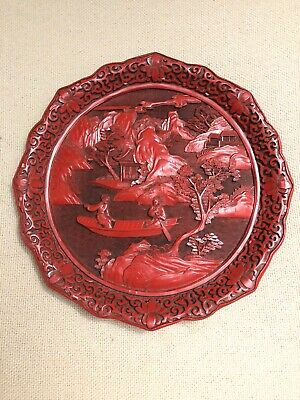 Rare, Beautiful ANTIQUE/VTG RED LACQUER CARVED CINNABAR PLATE QIANLONG MARK Boat