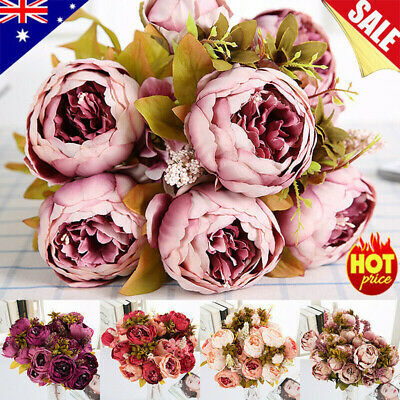 AU 13 Heads Vintage Artificial Fake Peony Silk Flowers Bouquet Party Home Decor