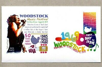 2019 Woodstock  Stamp First Day Cover ~ Janice Joplin On Cover ~ Dcp Cancel