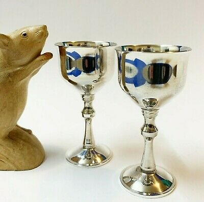 Pair x Classic-Styled Silverplated Port / Liqueur Goblets, Made in Portugal