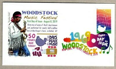 2019 Woodstock  Stamp ~ Jimi Hendrix On Glen  Cachet First Day Cover~Dcp Cancel