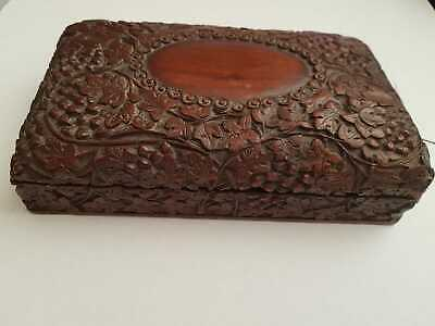 Intricately Carved  Antique Mahogany Document/Jewellery Box