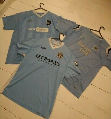 Job Lot Of 3 Manchester City Home Shirts - Size Large