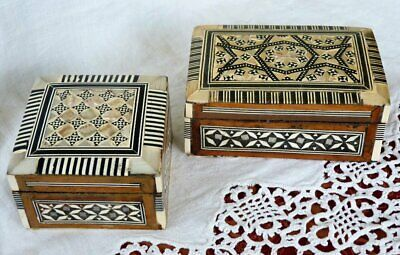 Two iwooden boxes mother of pearl inlaid Jewellery trinket desktop