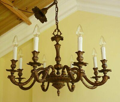 Large Heavy Quality Antique Brass French Rococo chandelier Baroque ceiling light