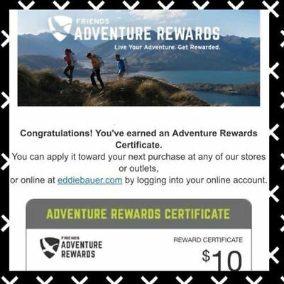 Eddie Bauer $10 USD Reward Gift Certificate expire Sep 30 online or instore