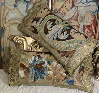 18th Century French Verdure Tapestry Antique Aubusson Pillow
